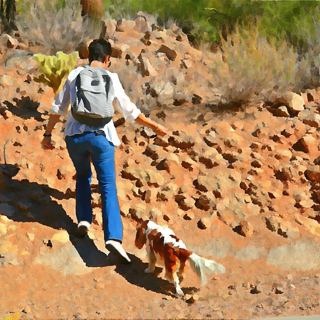 'Lady' climbing Camelback Mountain with her mom, Emily.