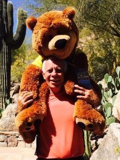 Photographer & photo illustrator, Dan Merchant pals around with The Phoenician's bear, Charlie